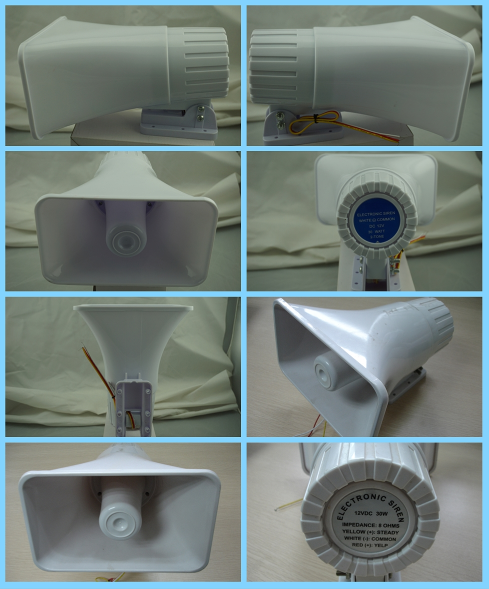 White color wired electric alarm siren from shenzhen alarm siren manufacturer