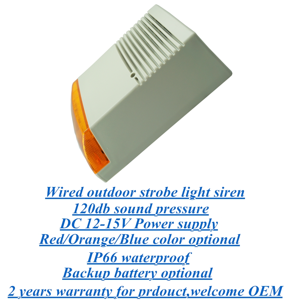 Outdoor wired electric strobe light alarm siren with backup battery optional