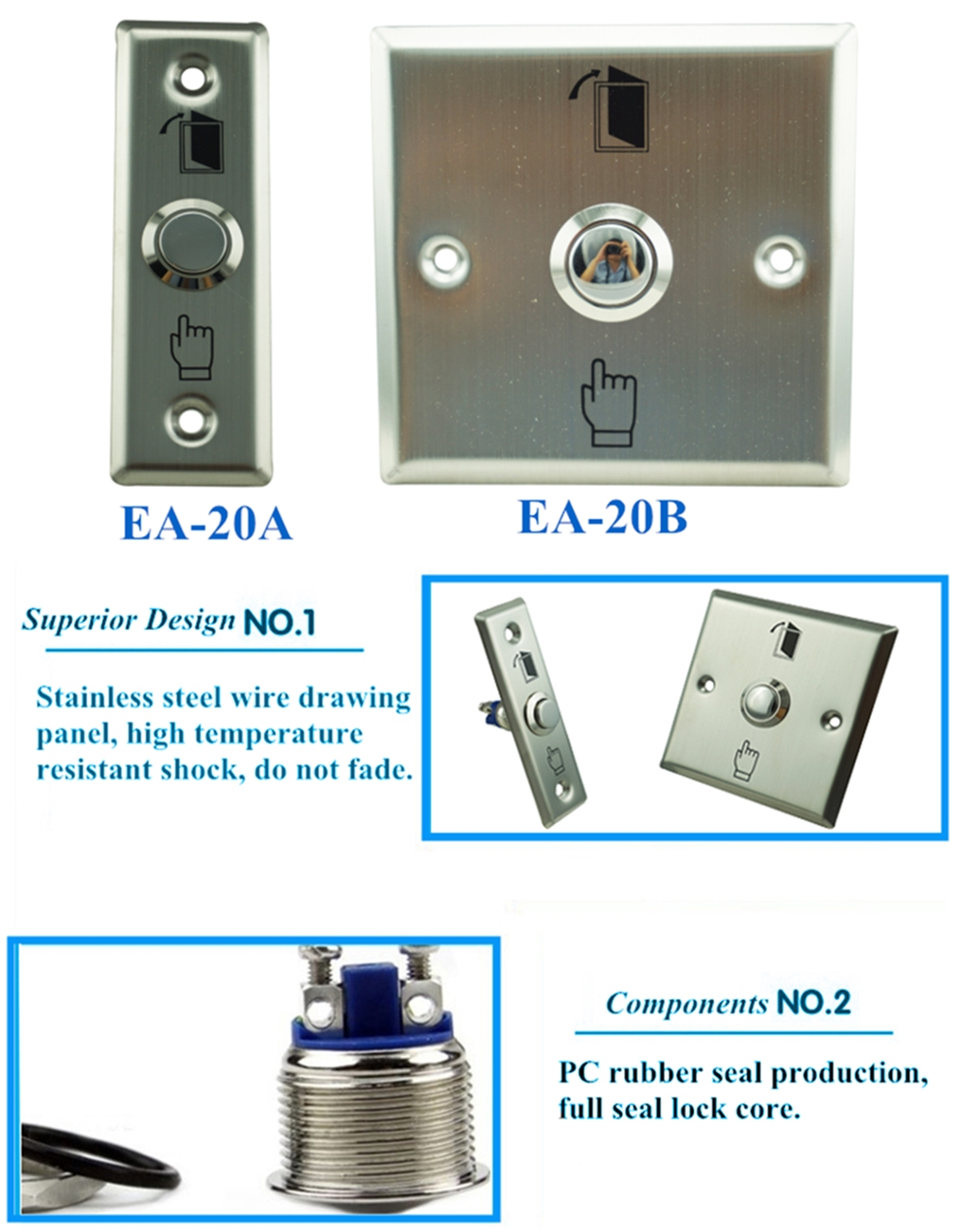 Stainless steel panel door release/push button