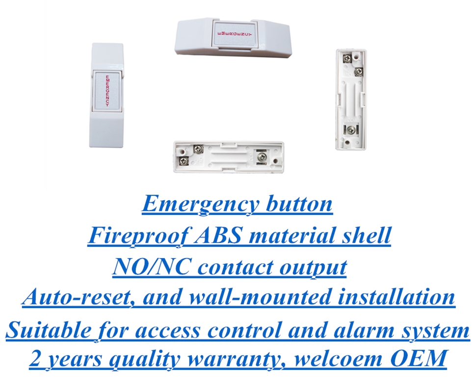 Auto-reset emergency button for alarm system and access control system