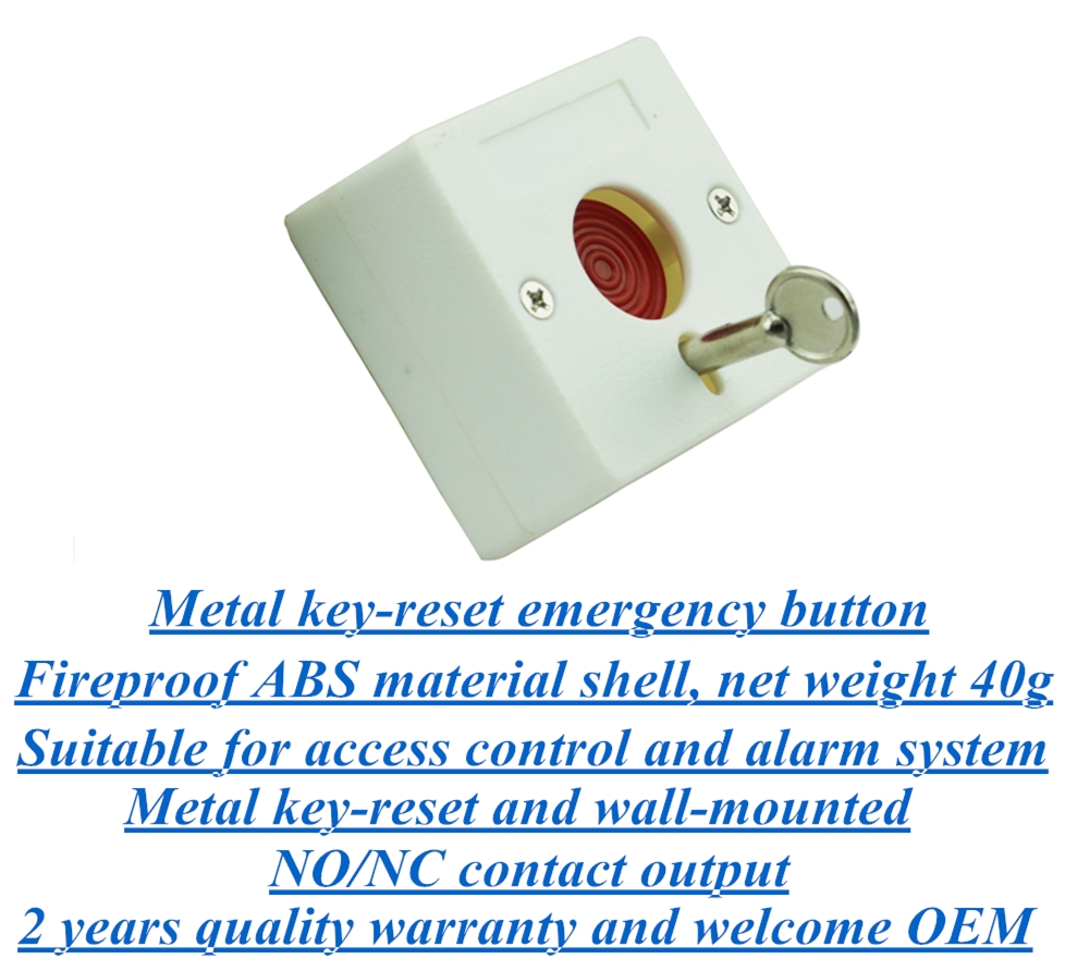 Metal key-reset mini size emergency button for alarm system and access control system