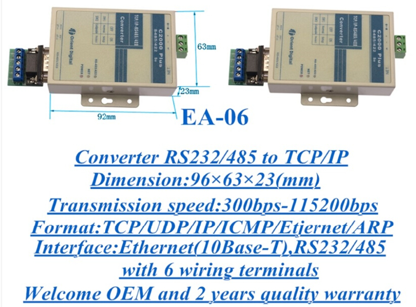 TCP/IP to RS485/RS422 Converter