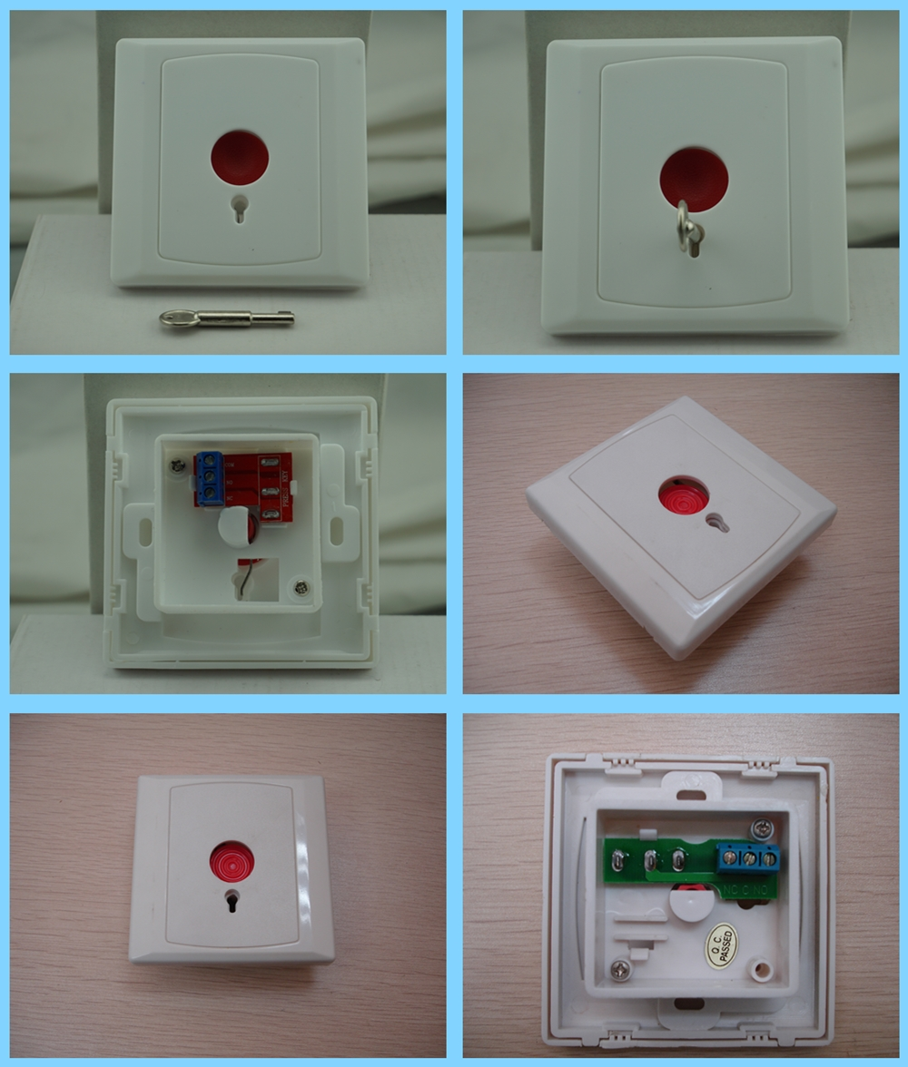 Metal key-reset emergency button for alarm system and access control system